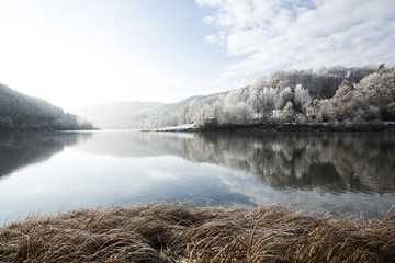 Winter landscape with Lake Edersee, Hesse, Germany