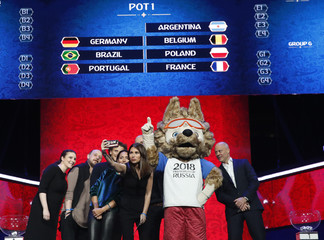 "Participants take a selfie picture during the ""Behind the scenes of the Final Draw"" event prior to the upcoming Final Draw of the 2018 FIFA World Cup Russia in Moscow"