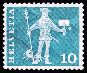 MOSCOW, RUSSIA - APRIL 2, 2017: A post stamp printed in Switzerland shows King guard, circa 1960