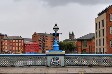 leeds bridge crossing the river aire with calls landing development work and leeds parish church visible