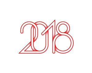 2018 red plexus of numbers for Happy New Year greeting card design.