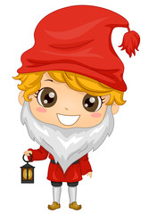 Kid Boy Sweden Tomte Costume Illustration