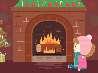 Kid Girl Jul Christmas Yule Log Illustration