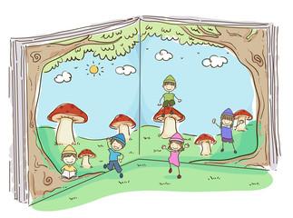 Stickman Kids Dwarves Book Illustration