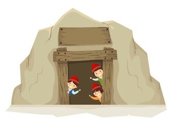 Stickman Kids Mining Entrance Illustration