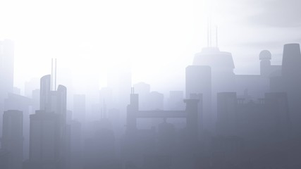 Post Apocalyptic Heavily Air Polluted Smoggy Metropolis Wall mural