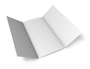 Trifold tall vertical leaflet flyer blank mockup.