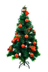 Christmas tree with decorations isolated on white background