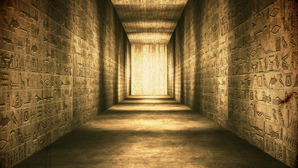 Egyptian Tunnel Hieroglyphs Corridor Vintage