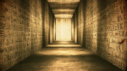 Egyptian Tunnel Hieroglyphs Corridor Vintage Fototapete
