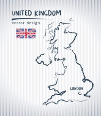United Kingdom national vector drawing map on white background