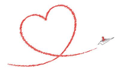 Bemanntes Papierflugzeug fliegt rotes Kondesstreifen-Herz / Vektor-Zeichnung, freigestellt