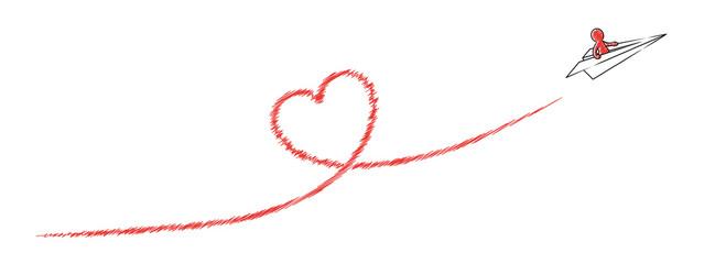 Papierflugzeug mit Strichmännchen fliegt ein rotes Kondesstreifen-Herz / Vektor-Zeichnung, freigestellt