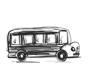 School bus icon. Outlined on white background. Transport