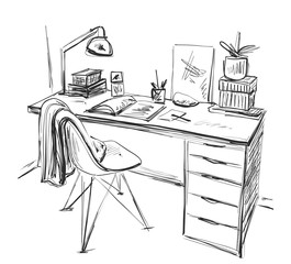 Table with a computer or workplace drawn by hand doodle style.