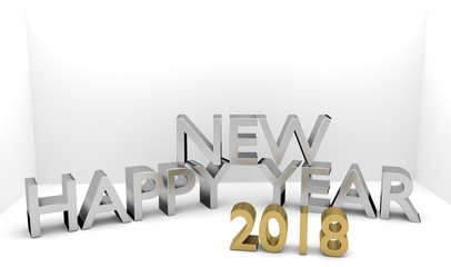 Happy New Year 2018 3D text