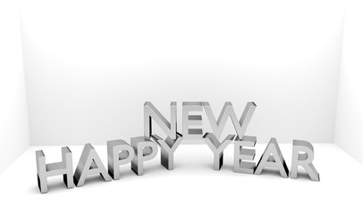 Happy New Year 3D text - Copy space