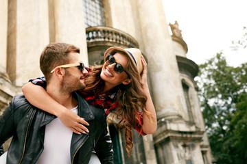 Tourist Couple. Beautiful Woman And Man Having Fun