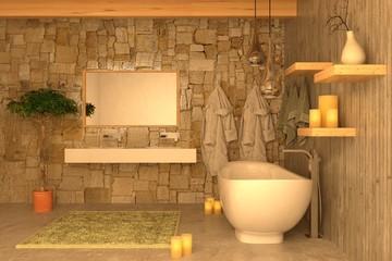 Bagno con calcestruzzo e candele per atmosfera romantica