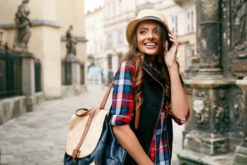 Beautiful Happy Woman Walking On Street Portrait.