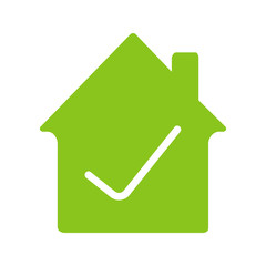Checked, approved house glyph color icon