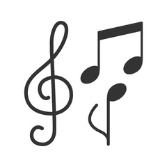 Treble clef and musical notes glyph icon