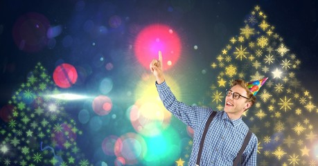 Man with party hat and Snowflake New Year Party lights colorful
