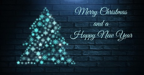 Merry Christmas and a Happy New Year text and Snowflake