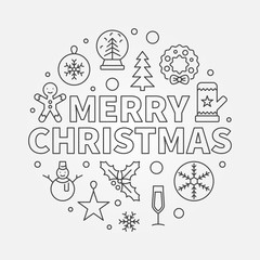 Merry Christmas round vector illustration. Xmas concept