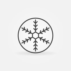 Snowflake in circle vector outline icon