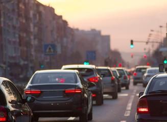 Cars traffic jam at city road