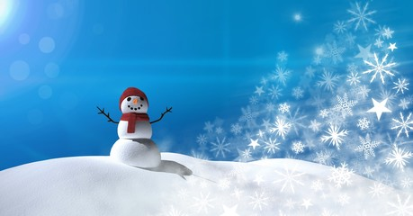 Snowflake Christmas patterns with snow landscape and snowman