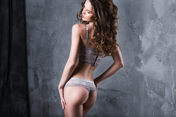 Fashion model in erotic underwear.
