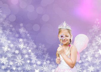 Fairy princess frozen girl and Snowflake Christmas patterns