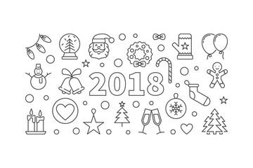 Happy New 2018 Year vector horizontal banner in thin line style