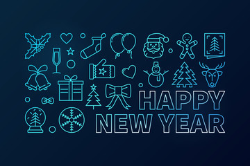 Happy New Year blue vector concept banner or illustration