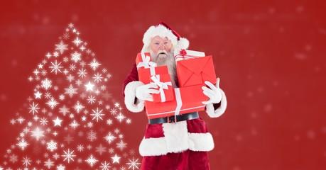 Santa holding gifts and Snowflake Christmas tree pattern shapes