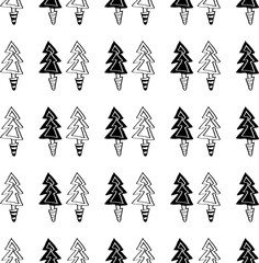 Black and white seamless Christmas pattern - varied Xmas trees and snowflakes. Winter forest illustration. Vector