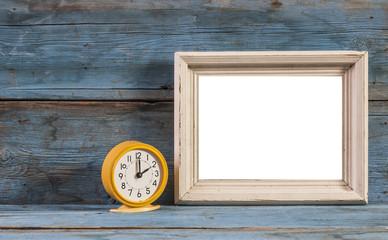 Blank frame wood blocks with vintage alarm clock