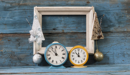 Blank frame wood blocks with vintage alarm clock