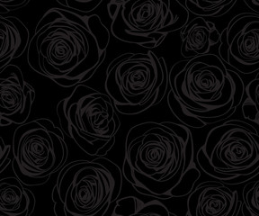 Black seamless pattern with gray line roses. Vector elegant vintage floral illustration