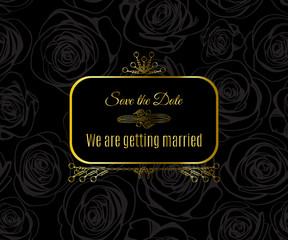Wedding card design with golden vintage pattern on black background.  Gold abstract elegant luxury frame. Vector illustration for retro label concept
