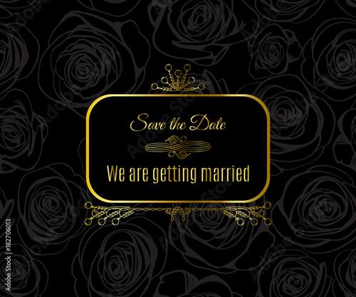 d9243d8cde5b Wedding card design with golden vintage pattern on black background. Gold  abstract elegant luxury frame. Vector illustration for retro label concept