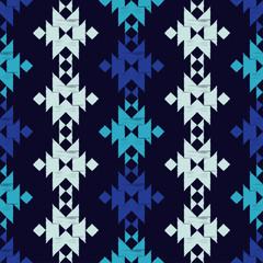 Ethnic boho seamless pattern. Blue Tribal pattern. Scribble texture. Folk motif. Textile rapport.