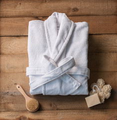 bathrobe bath soap and loofah brush