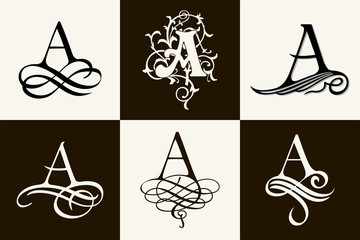 Vintage Set . Capital Letter A for Monograms and Logos. Beautiful Filigree Font. Victorian Style.