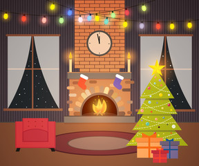 Christmas living room. Night interior in new year's eve with a fireplace, clock, garland with lights, Christmas tree, gifts, stockings. Holiday postcard in flat style for winter season's greetings