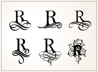 Vintage Set . Capital Letter R for Monograms and Logos. Beautiful Filigree Font. Victorian Style.