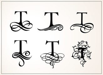 Vintage Set . Capital Letter T for Monograms and Logos. Beautiful Filigree Font. Victorian Style.