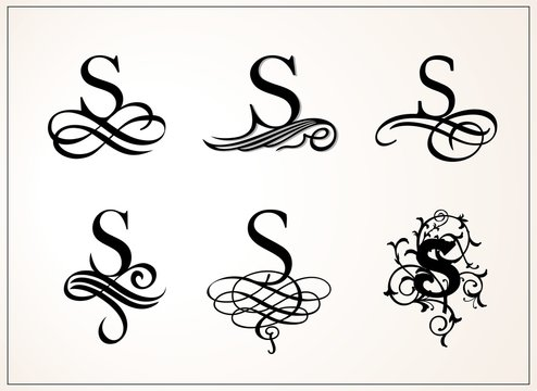 Vintage Set . Capital Letter S for Monograms and Logos. Beautiful Filigree Font. Victorian Style.